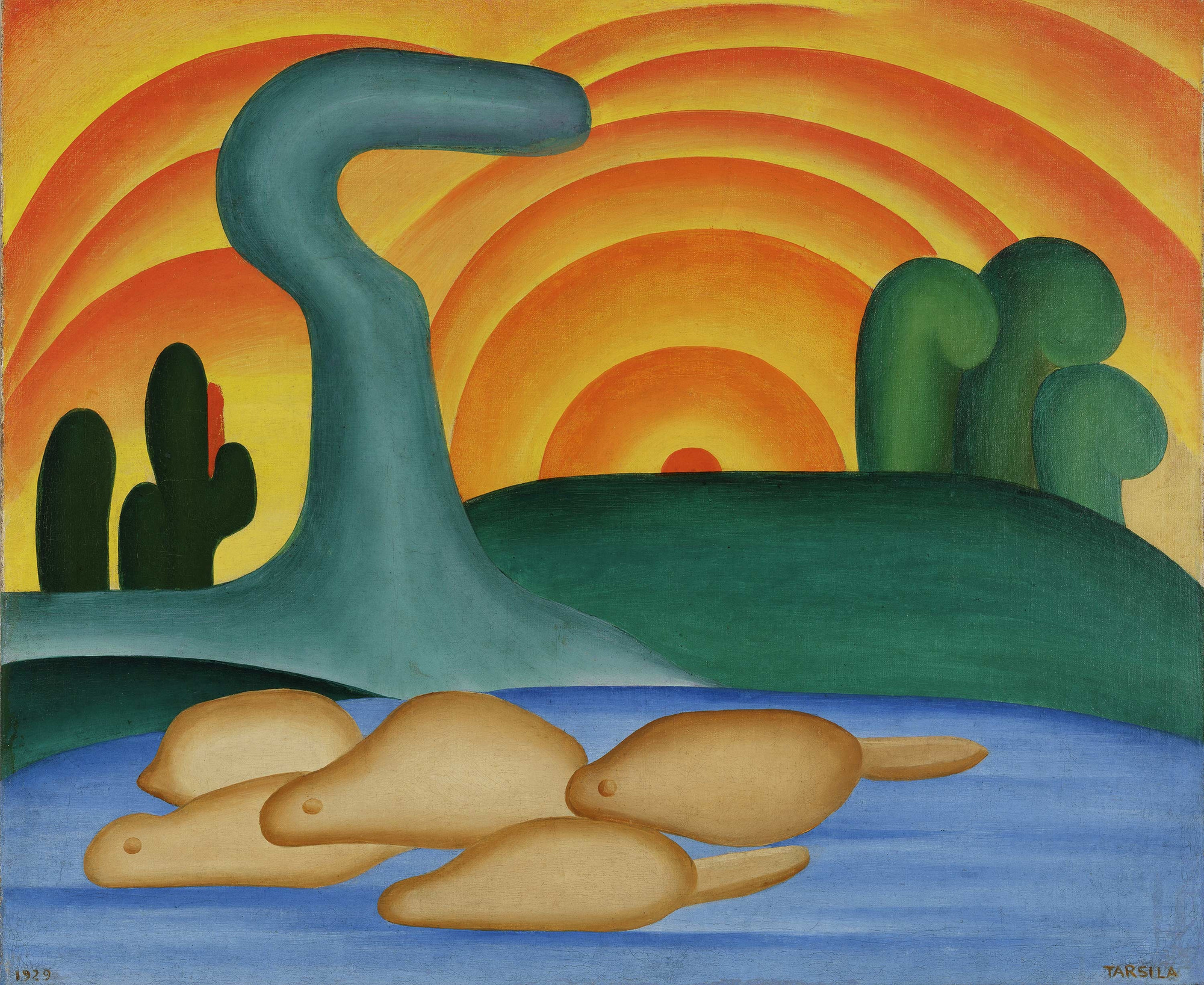 Tarsila do Amaral. Setting Sun (Sol poente), Oil on canvas. 21 1/4 x 25 9/16 in. (54 x 65 cm). Private collection, Rio de Janeiro © Tarsila do Amaral Licenciamentos