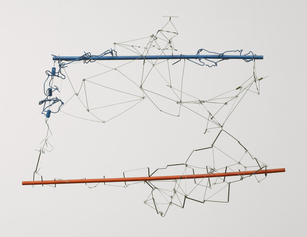 Gego (Gertrud Goldschmidt) (Venezuelan, born Germany. 1912–1994). *Drawing without Paper 84/25 and 84/26*. 1984 and 1987. Enamel on wood and stainless steel wire, 23 5/8 x 34 5/8 x 16 3/4″ (60 x 88 x 40 cm). The Museum of Modern Art, NY. Gift of Patricia Phelps de Cisneros in honor of Susan and Glenn Lowry. Copyright © 2017 Fundación Gego.