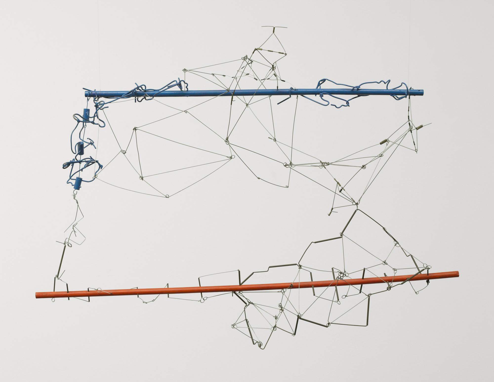 Gego (Gertrud Goldschmidt) (Venezuelan, born Germany. 1912–1994). Drawing without Paper 84/25 and 84/26. 1984 and 1987. Enamel on wood and stainless steel wire, 23 5/8 x 34 5/8 x 16 3/4″ (60 x 88 x 40 cm). The Museum of Modern Art, NY. Gift of Patricia Phelps de Cisneros in honor of Susan and Glenn Lowry. Copyright © 2017 Fundación Gego.