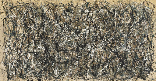 "Jackson Pollock. One: Number 31, 1950. 1950. Oil and enamel paint on canvas, 8' 10"" x 17' 5 5⁄8"" (269.5 x 530.8 cm). The Museum of Modern Art, Sidney and Harriet Janis Collection Fund (by exchange). Conservation was made possible by the Bank of America Art Conservation Project. © 2017 Pollock-Krasner Foundation/Artists Rights Society (ARS), New York"