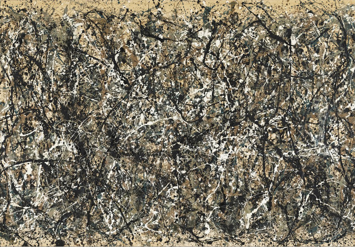 "Jackson Pollock. One: Number 31, 1950. 1950. Oil and enamel paint on canvas, 8' 10"" x 17' 5 5/8"" (269.5 x 530.8 cm). The Museum of Modern Art, Sidney and Harriet Janis Collection Fund (by exchange). Conservation was made possible by the Bank of America Art Conservation Project. © 2017 Pollock-Krasner Foundation/Artists Rights Society (ARS), New York"