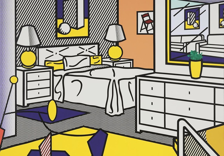 Roy Lichtenstein. Interior with Mobile. 1992. Oil and magna on canvas, 10′ 10″ x 14′ 3″ (330.2 x 434.4 cm). The Museum of Modern Art, NY. Enid A. Haupt Fund; gift of Agnes Gund, Jo Carole and Ronald S. Lauder, Michael and Judy Ovitz in honor of Roy and Dorothy Lichtenstein, and Anna Marie and Robert F. Shapiro. © Estate of Roy Lichtenstein