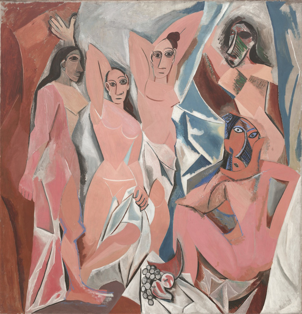 "Pablo Picasso. *Les Demoiselles d'Avignon* Paris. June–July 1907. Oil on canvas, 8' x 7' 8"" (243.9 x 233.7 cm). The Museum of Modern Art, Acquired through the Lillie P. Bliss Bequest (by exchange). © 2017 Estate of Pablo Picasso/Artists Rights Society (ARS), New York"