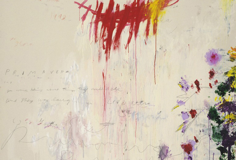 "Cy Twombly. The Four Seasons: Spring, Summer, Autumn, and Winter. 1993–94. Synthetic polymer paint, oil, house paint, pencil, and crayon on four canvases. Spring 10' 3 1/8"" x 6' 2 7/8"" (312.5 x 190 cm); Summer 10' 3 3/4"" x 6' 7 1/8"" (314.5 x 201 cm); Autumn 10' 3 1/2"" x 6' 2 3/4"" (313.7 x 189.9 cm); Winter 10' 3 1/4"" x 6' 2 7/8"" (313 x 190.1 cm). The Museum of Modern Art, NY. Gift of the artist. © 2017 Cy Twombly Foundation"