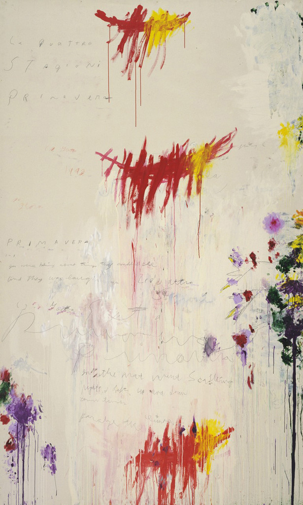 "Cy Twombly. *The Four Seasons: Spring, Summer, Autumn, and Winter.* 1993–94. Synthetic polymer paint, oil, house paint, pencil, and crayon on four canvases. Spring 10' 3 1/8"" x 6' 2 7/8"" (312.5 x 190 cm); Summer 10' 3 3/4"" x 6' 7 1/8"" (314.5 x 201 cm); Autumn 10' 3 1/2"" x 6' 2 3/4"" (313.7 x 189.9 cm); Winter 10' 3 1/4"" x 6' 2 7/8"" (313 x 190.1 cm). The Museum of Modern Art, NY. Gift of the artist. © 2017 Cy Twombly Foundation"