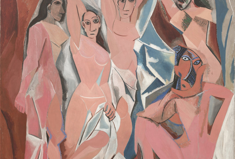 "Pablo Picasso. Les Demoiselles d'Avignon Paris. June-July 1907. Oil on canvas, 8' x 7' 8"" (243.9 x 233.7 cm). The Museum of Modern Art, Acquired through the Lillie P. Bliss Bequest (by exchange). © 2017 Estate of Pablo Picasso / Artists Rights Society (ARS), New York"