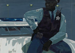 "Kerry James Marshall. Untitled (policeman). 2015. Synthetic polymer paint on PVC panel with plexi frame, 60 × 60"" (152.4 × 152.4 cm). The Museum of Modern Art, NY. Gift of Mimi Haas in honor of Marie-Josée Kravis"