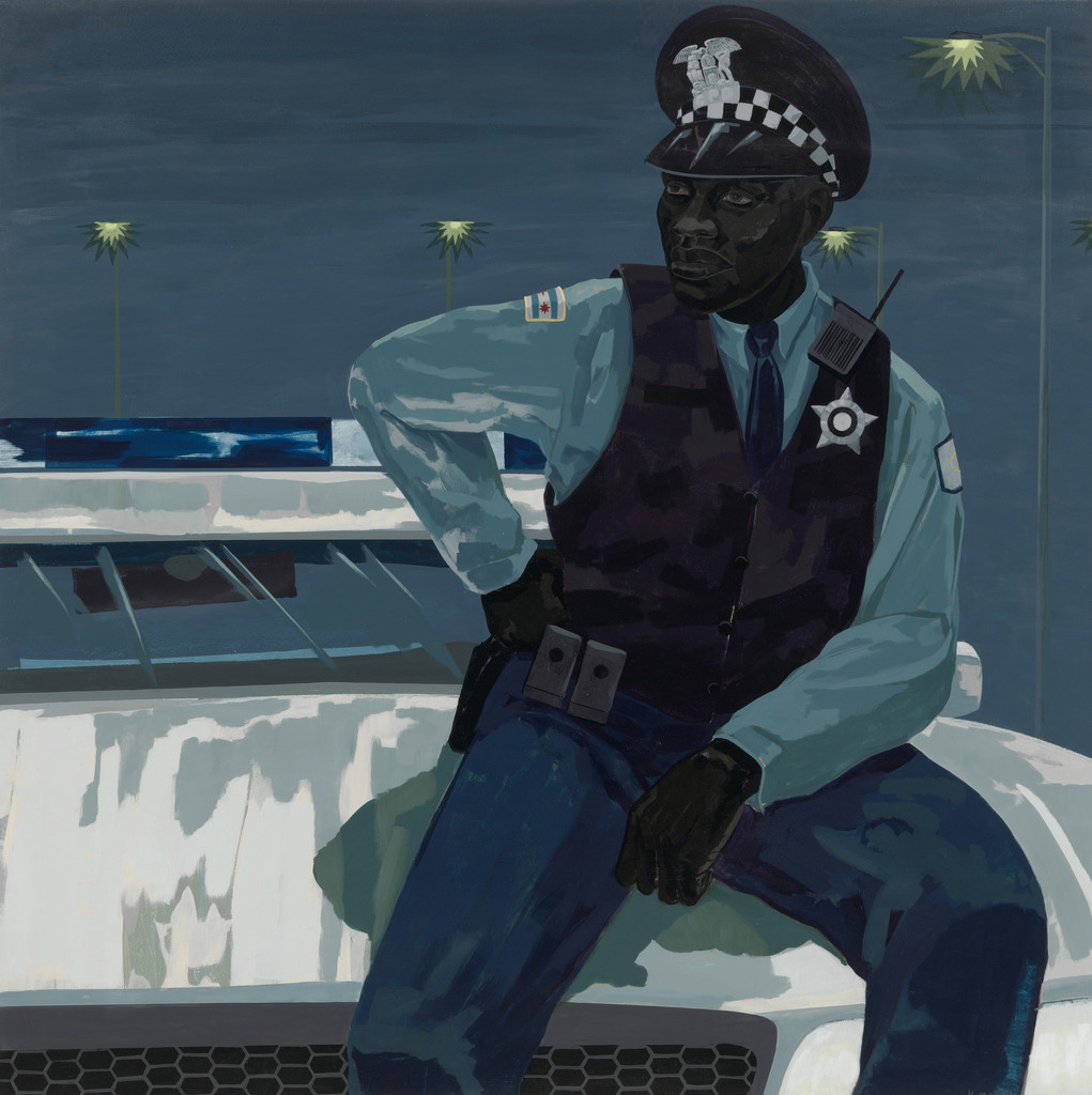 "Kerry James Marshall. *Untitled (policeman)*. 2015. Synthetic polymer paint on PVC panel with plexi frame, 60 × 60"" (152.4 × 152.4 cm). The Museum of Modern Art, NY. Gift of Mimi Haas in honor of Marie-Josée Kravis"