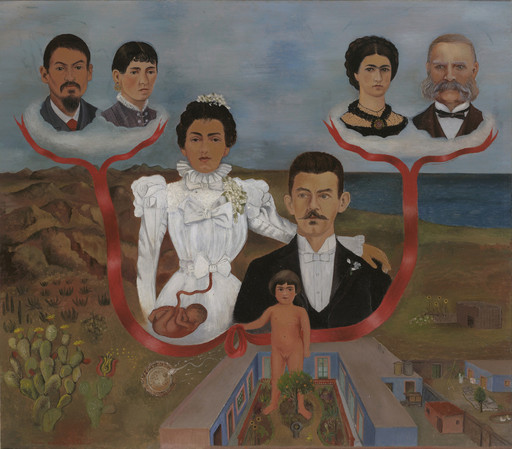 "Frida Kahlo. My Grandparents, My Parents, and I (Family Tree). 1936. Oil and tempera on zinc, 12 1⁄8 x 13 5⁄8"" (30.7 x 34.5 cm). The Museum of Modern Art, NY. Gift of Allan Roos, M. D., and B. Mathieu Roos. © 2017 Banco de México Diego Rivera Frida Kahlo Museums Trust, Mexico, D.F./Artists Rights Society (ARS), New York"