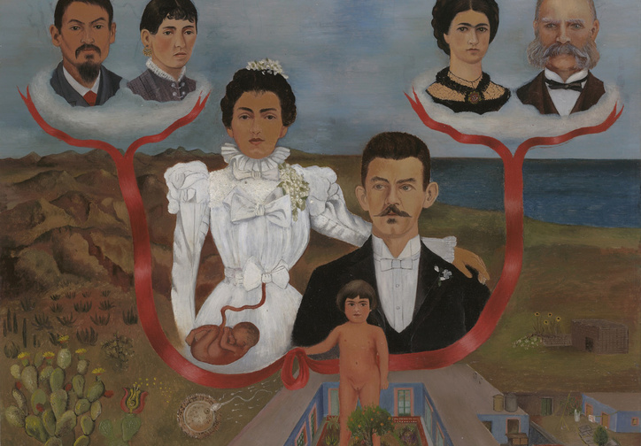 "Frida Kahlo. My Grandparents, My Parents, and I (Family Tree). 1936. Oil and tempera on zinc, 12 1/8 x 13 5/8"" (30.7 x 34.5 cm). The Museum of Modern Art, NY. Gift of Allan Roos, M. D., and B. Mathieu Roos. © 2017 Banco de México Diego Rivera Frida Kahlo Museums Trust, Mexico, D.F./Artists Rights Society (ARS), New York"