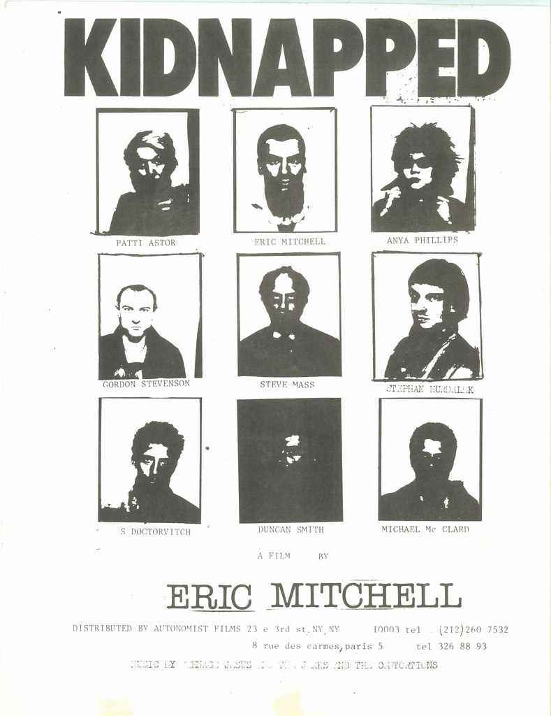 Poster for *Kidnapped*. 1978. USA. Directed by Eric Mitchell. Designed by and courtesy the artist