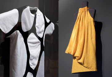 Installation views of Items: Is Fashion Modern. Shown, from left: Suzanne Lee, Amy Congdon, Modern Meadow (United States, founded 2011). Zoa. A new animal is born. 2017. Zoa biofabricated leather and cotton. Commissioned for Items: Is Fashion Modern?;  Stella McCartney, Bolt Threads (United States, founded 2009). Dress. 2017. Manmade spider silk. Commissioned for Items: Is Fashion Modern?