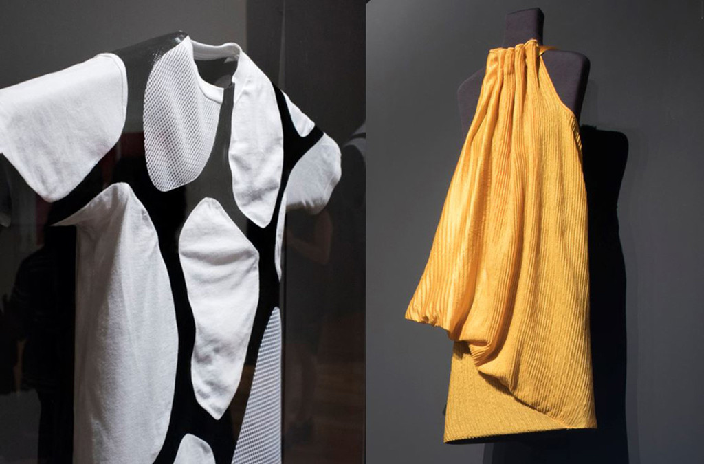 Installation views of *Items: Is Fashion Modern*. Shown, from left: Suzanne Lee, Amy Congdon, Modern Meadow (United States, founded 2011). Zoa. A new animal is born. 2017. Zoa biofabricated leather and cotton. Commissioned for *Items: Is Fashion Modern?*;  Stella McCartney, Bolt Threads (United States, founded 2009). Dress. 2017. Manmade spider silk. Commissioned for *Items: Is Fashion Modern?*