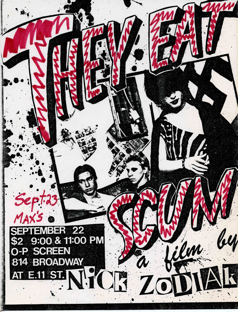 Flyer for They Eat Scum. 1979. USA. Directed by Nick Zedd. Designed by and courtesy the artist