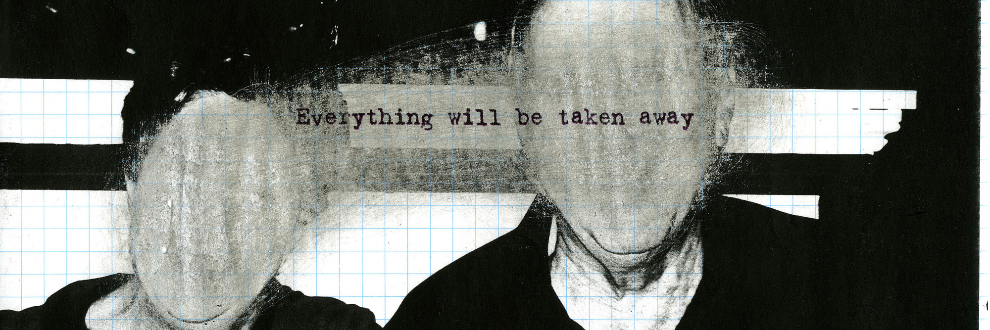 "Adrian Piper. Everything #2.8. 2003. Photocopied photograph on graph paper, sanded with sandpaper, overprinted with inkjet text, 8.5"" x 11"" (21.6 x 27.9 cm). Private Collection. © Adrian Piper Research Archive Foundation Berlin"