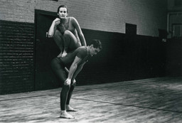Peter Moore. Performance view of Trisha Brown and Steve Paxton in Brown's Lightfall, Concert of Dance #4, January 30, 1963. © Barbara Moore/Licensed by VAGA, New York, NY. Courtesy Paula Cooper, New York