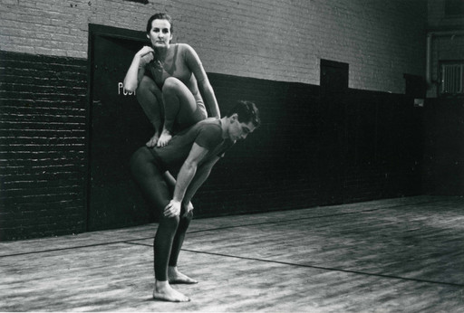 Peter Moore. Performance view of Trisha Brown and Steve Paxton in Brown's *Lightfall*, Concert of Dance #4, January 30, 1963. © Barbara Moore/Licensed by VAGA, New York, NY. Courtesy Paula Cooper, New York