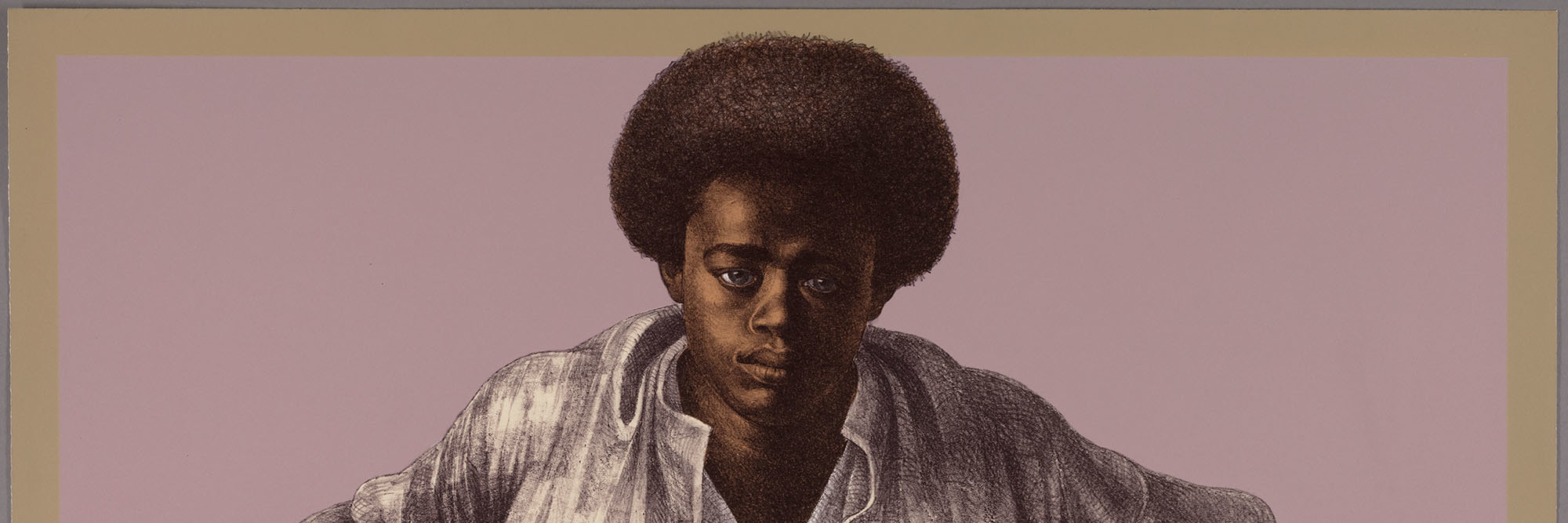 "Charles White. Sound of Silence. 1978. Color lithograph on paper, 25 1/8 × 35 5/16"" (63.8 × 89.7 cm). Publisher: Hand Graphics, Ltd. Printer: David Panosh. The Art Institute of Chicago. Margaret Fisher Fund. © 1978 The Charles White Archives"
