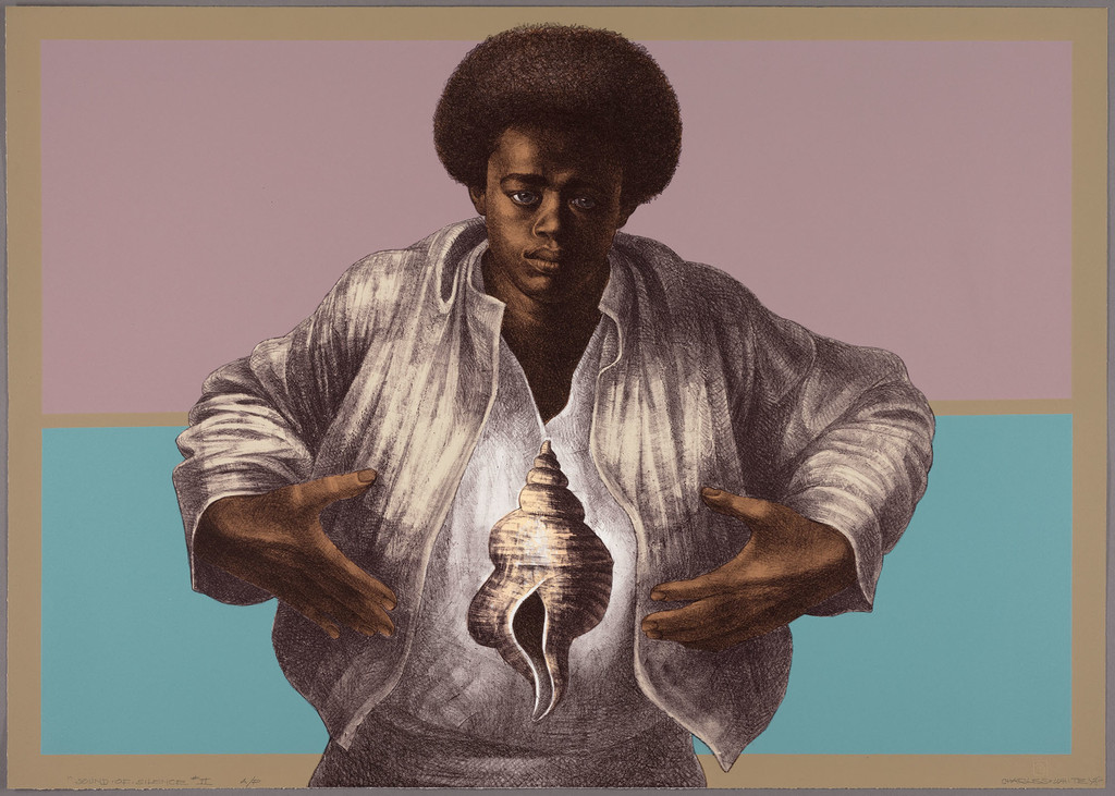 "Charles White. *Sound of Silence*. 1978. Color lithograph on paper, 25 1/8 × 35 5/16"" (63.8 × 89.7 cm). Publisher: Hand Graphics, Ltd. Printer: David Panosh. The Art Institute of Chicago. Margaret Fisher Fund. © 1978 The Charles White Archives"