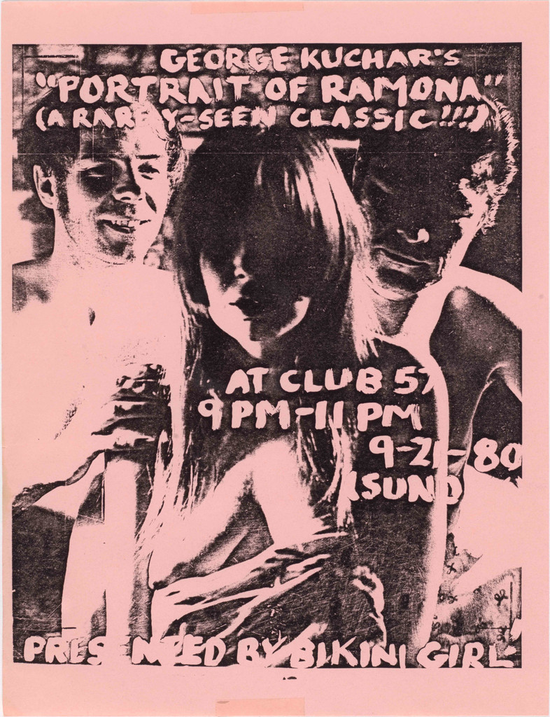 Flyer for *Bikini Girl's* screening of George Kuchar's *Portrait of Ramona* at Club 57, 1980. Design by *Bikini Girl* editor Lisa Baumgardner. The Museum of Modern Art, New York. Department of Film Special Collections