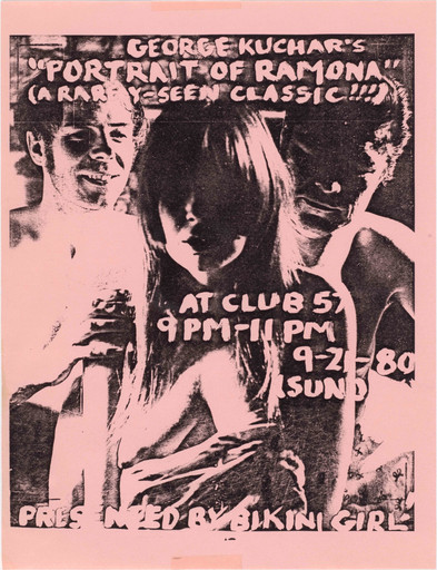 Flyer for Bikini Girl's screening of George Kuchar's Portrait of Ramona at Club 57, 1980. Design by Bikini Girl editor Lisa Baumgardner. The Museum of Modern Art, New York. Department of Film Special Collections
