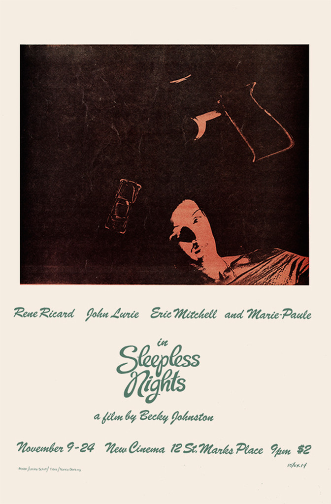A flyer for *Sleepless Nights*. 1979. USA. Directed by Becky Johnston. Image courtesy of Maripol