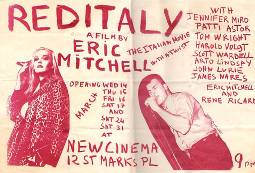 Flyer for Red Italy screenings at New Cinema, 1979. Designed by and courtesy Eric Mitchell