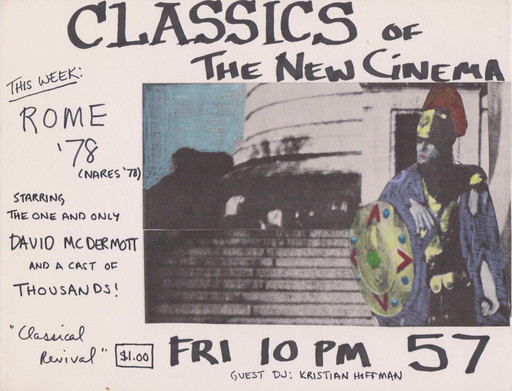 Patti Astor. Flyer for a Rome '78 screening at Club 57, 1981. 1981