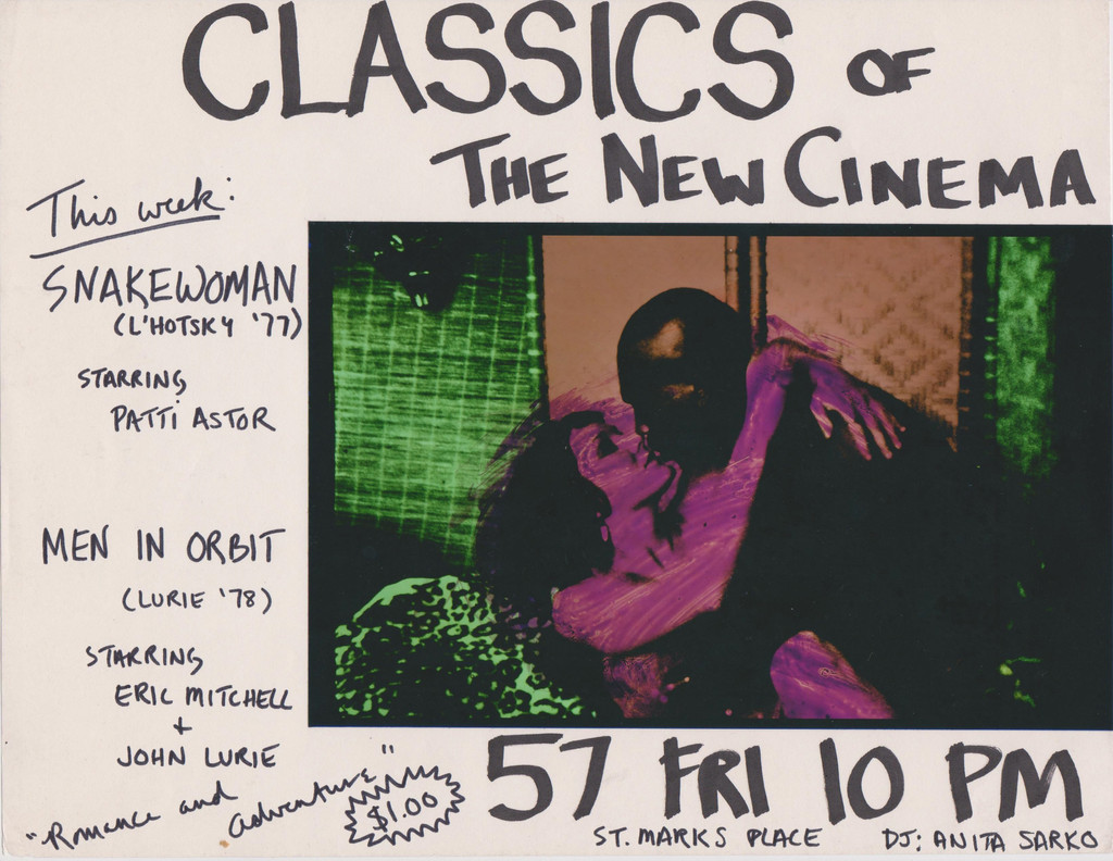 Patti Astor. Flyer for *Snake Woman* and *Men in Orbit* screening at Club 57, 1981. 1981