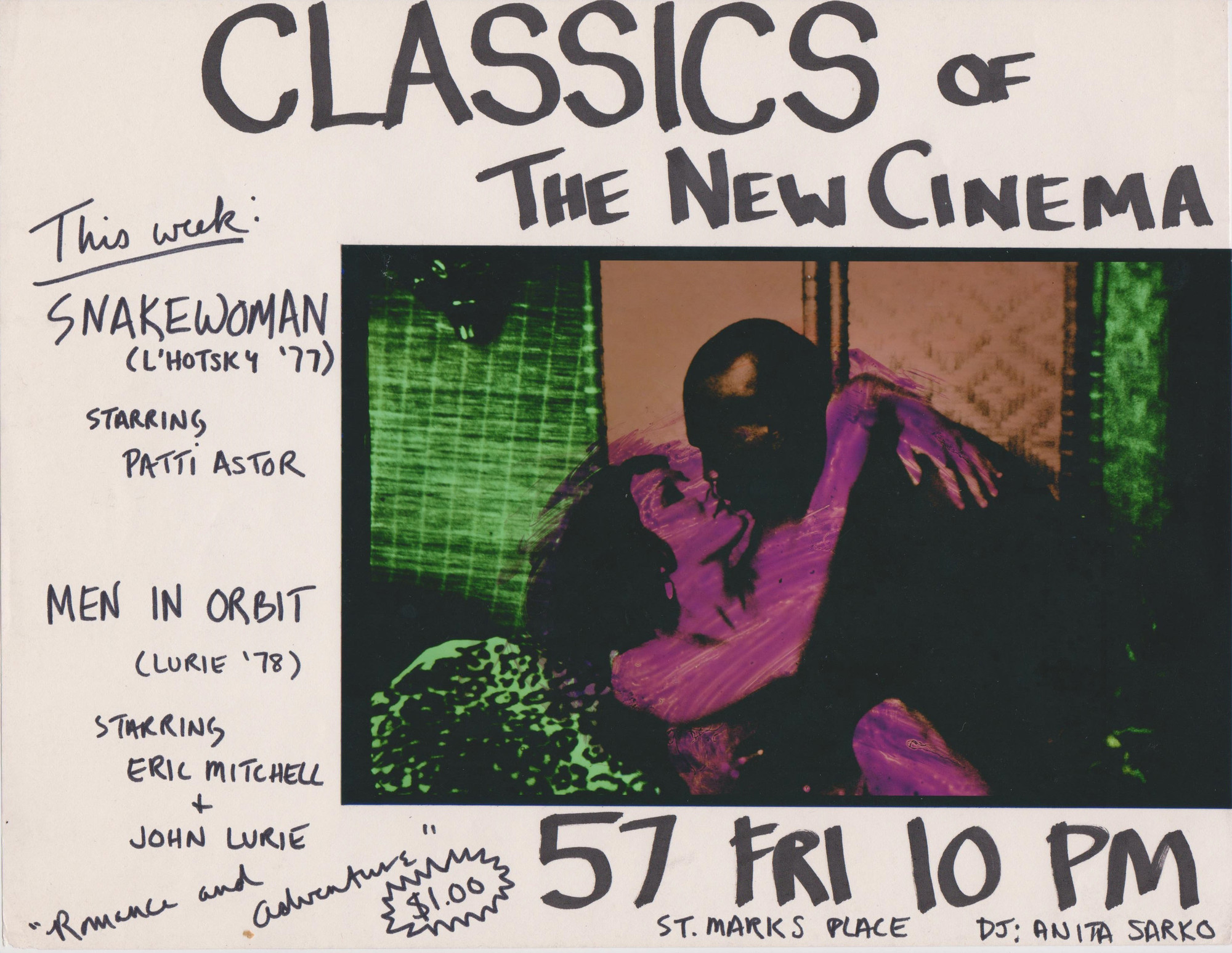Patti Astor. Flyer for Snake Woman and Men in Orbit screening at Club 57, 1981. 1981