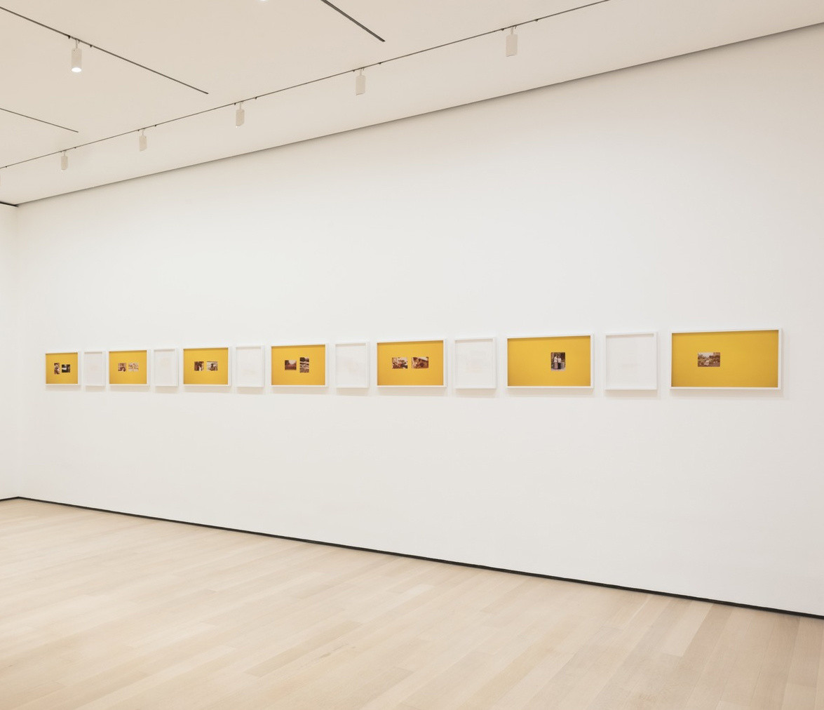 "Huong Ngo and Hong-An Truong. _The opposite of looking is not invisibility. The opposite of yellow is not gold_(installation view).  2016. Pigmented inkjet prints, laser cut prints. Two large inkjet prints prints: 44 × 44"" (111.8 × 111.8 cm); Seven small inkjet prints, framed: 14 × 22 × 2"" (35.6 × 55.9 × 5.1 cm); Six laser cut prints, framed: 14 × 12 × 2"" (35.6 × 30.5 × 5.1 cm). Courtesy the artists © 2018 Huong Ngo and Hong-An Truong"
