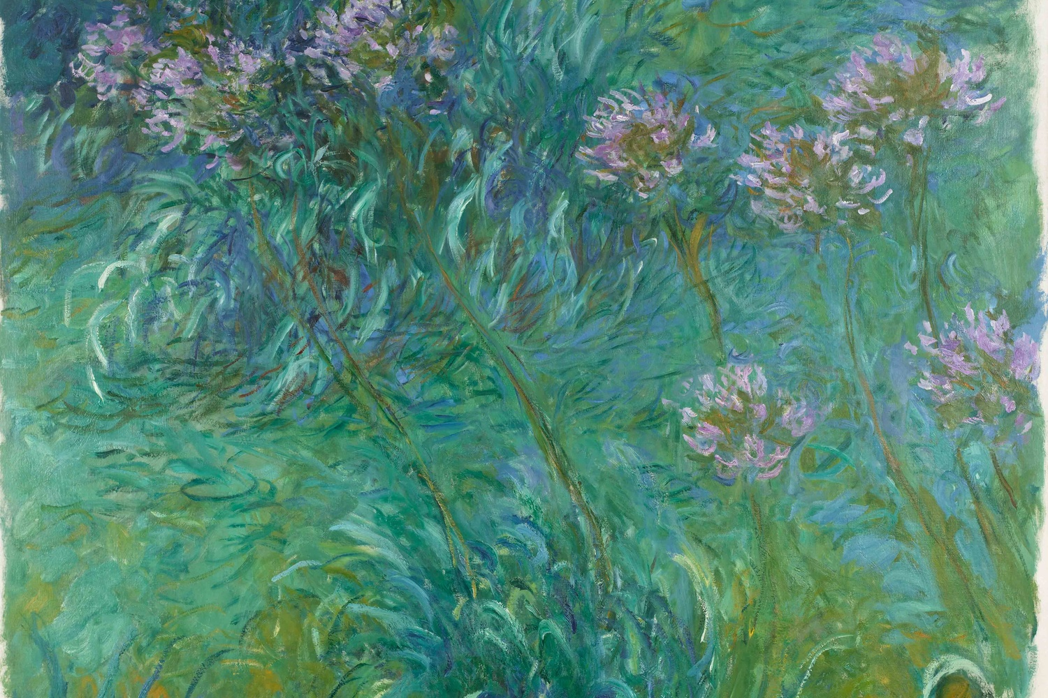 "Claude Monet. Agapanthus. 1914–26. Oil on canvas, 6' 6"" x 70 1/4"" (198.2 x 178.4 cm). Gift of Sylvia Slifka in memory of Joseph Slifka"