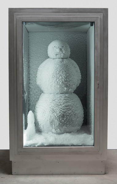 Peter Fischli and David Weiss. <em>Snowman</em>. 1987/2016. Copper, aluminum, glass, water, and coolant system, 85 7/8 x 50 3/8 x 65&quot; (218 x 128 x 165 cm). Courtesy Matthew Marks Gallery. © Peter Fischli and David Weiss