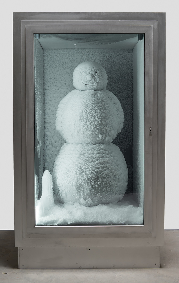 "Peter Fischli and David Weiss. Snowman. 1987/2016. Copper, aluminum, glass, water, and coolant system, 85 7/8 x 50 3/8 x 65"" (218 x 128 x 165 cm). Courtesy Matthew Marks Gallery. © Peter Fischli and David Weiss"