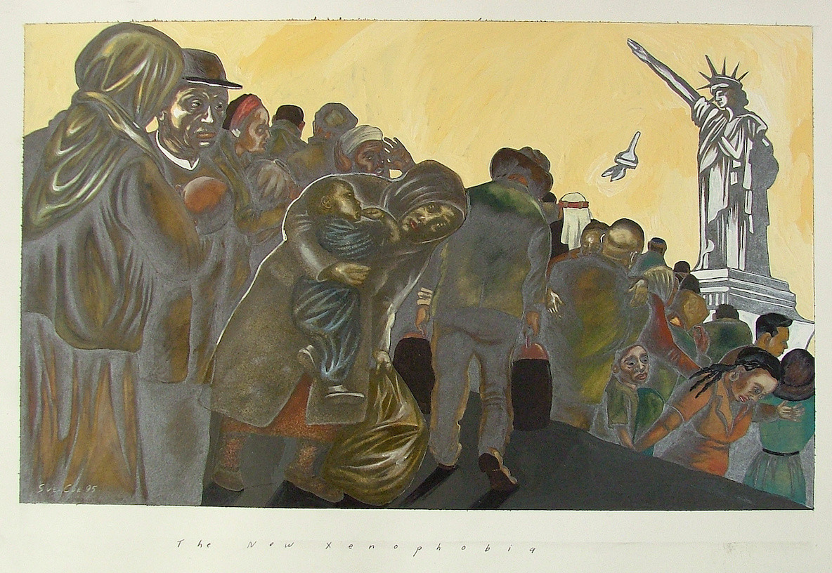 "Sue Coe, The New Xenophobia, 1995. Graphite, gouache, watercolor and collage on white Strathmore Bristol board. 15 ½ x 23"" (39.4 x 58.4 cm). Private collection. Courtesy Galerie St. Etienne, New York © 1995 Sue Coe"