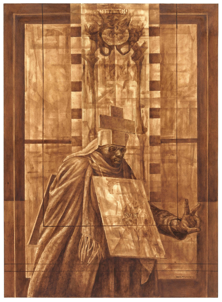 Charles White. *Black Pope (Sandwich Board Man)*. 1973. Oil wash on board. 60 × 43 7/8″ (152.4 × 111.4 cm) The Museum of Modern Art, New York. Richard S. Zeisler Bequest (by exchange), The Friends of Education of The Museum of Modern Art, Committee on Drawings Fund, Dian Woodner, and Agnes Gund. © 1973 The Charles White Archives. Photo Credit: Jonathan Muzikar, The Museum of Modern Art Imaging Services