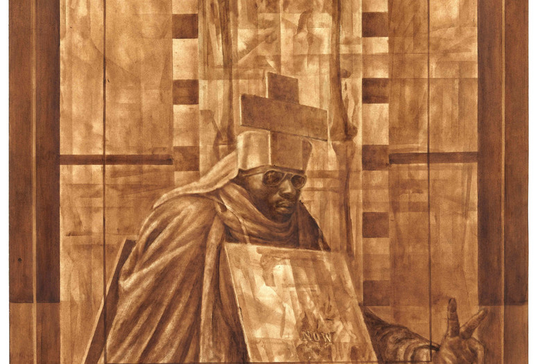 Charles White. Black Pope (Sandwich Board Man). 1973. Oil wash on board. 60 × 43 7/8″ (152.4 × 111.4 cm) The Museum of Modern Art, New York. Richard S. Zeisler Bequest (by exchange), The Friends of Education of The Museum of Modern Art, Committee on Drawings Fund, Dian Woodner, and Agnes Gund. © 1973 The Charles White Archives. Photo Credit: Jonathan Muzikar, The Museum of Modern Art Imaging Services