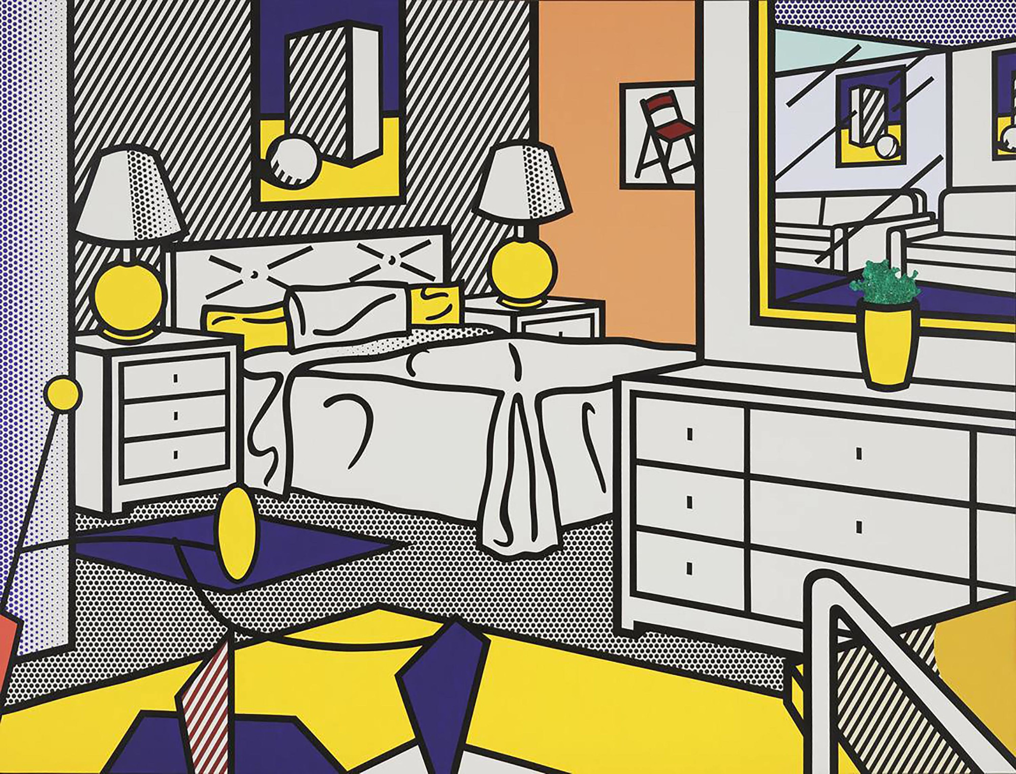 Roy Lichtenstein (American, born Canada. 1913–1980). Interior with Mobile. 1992. Oil and magna on canvas, 10′ 10″ x 14′ 3″ (330.2 x 434.4 cm). The Museum of Modern Art, NY. Enid A. Haupt Fund; gift of Agnes Gund, Jo Carole and Ronald S. Lauder, Michael and Judy Ovitz in honor of Roy and Dorothy Lichtenstein; and Anna Marie and Robert F. Shapiro. © Estate of Roy Lichtenstein