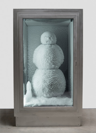 Peter Fischli and David Weiss. Snowman. 1987⁄2016. Copper, aluminum, glass, water, and coolant system, 85 7⁄8 x 50 3⁄8 x 65″ (218 x 128 x 165 cm). Courtesy Matthew Marks Gallery. © Peter Fischli and David Weiss