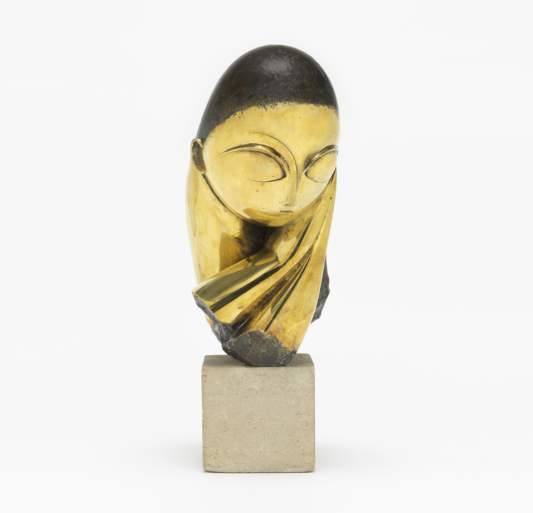 "Constantin Brancusi. Mlle Pogany. Version I, 1913 (after a marble of 1912). Bronze with black patina, 17 1/4 x 8 1/2 x 12 1/2"" (43.8 x 21.5 x 31.7 cm), on limestone base, 5 3/4 x 6 1/8 x 7 3/8"" (14.6 x 15.6 x 18.7 cm). Acquired through the Lillie P. Bliss Bequest (by exchange). © 2018 Artists Rights Society (ARS), New York/ADAGP, Paris"
