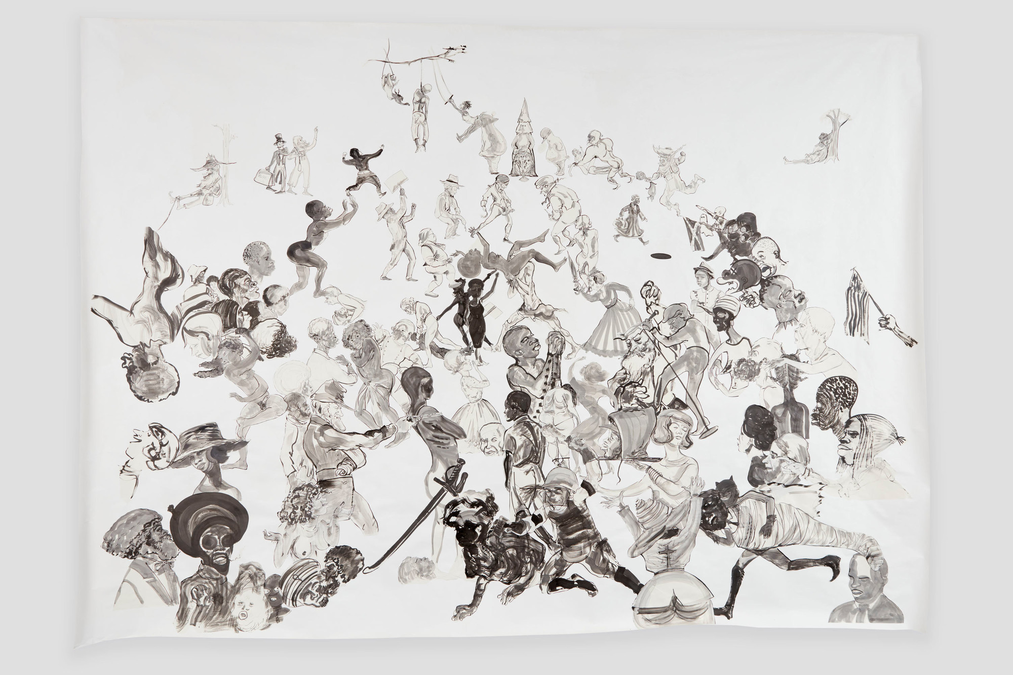 Kara Walker, Christ's Entry Into Journalism. 2017. Ink and pencil on paper, cut-and-pasted on painted paper. The Museum of Modern Art, New York. Acquired through the generosity of Agnes Gund, the Contemporary Arts Council of The Museum of Modern Art, Carol and Morton Rapp, Marnie Pillsbury, the Contemporary Drawing and Print Associates, and Committee on Drawings and Prints Fund. © 2018 Kara Walker