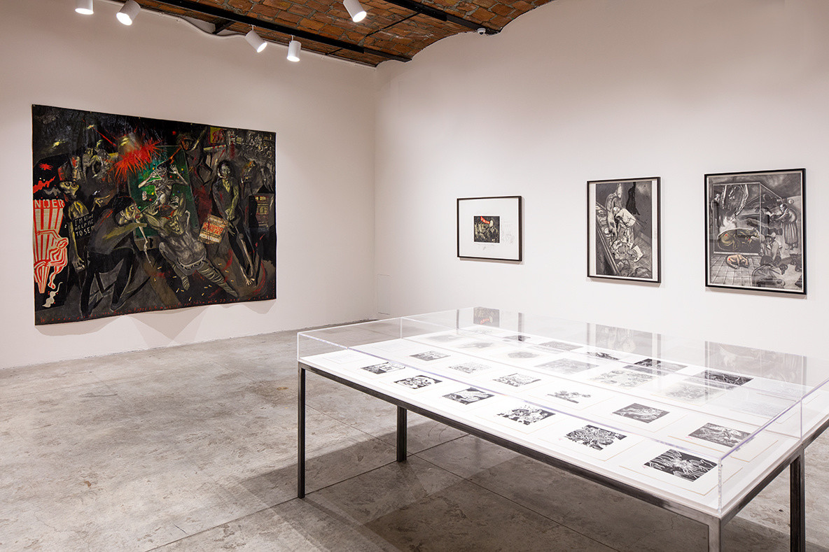 Installation view of Sue Coe: Graphic Resistance on view at MoMA PS1 through September 3, 2018. Image courtesy MoMA PS1. Photo by Matthew Septimus.