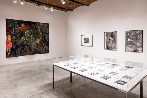 Installation view of *Sue Coe: Graphic Resistance* on view at MoMA PS1 through September 3, 2018. Image courtesy MoMA PS1. Photo by Matthew Septimus.