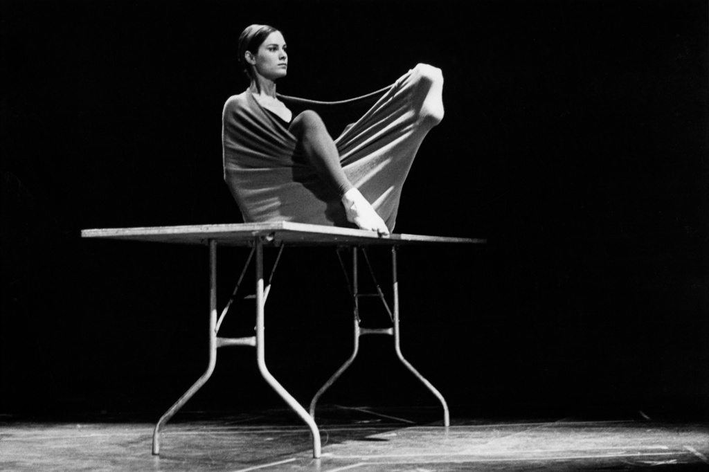 Peter Moore's photograph of Lucinda Childs in Pastime,1963. Performed in Surplus Dance Theater: Program Exchange, New York, March 2, 1964