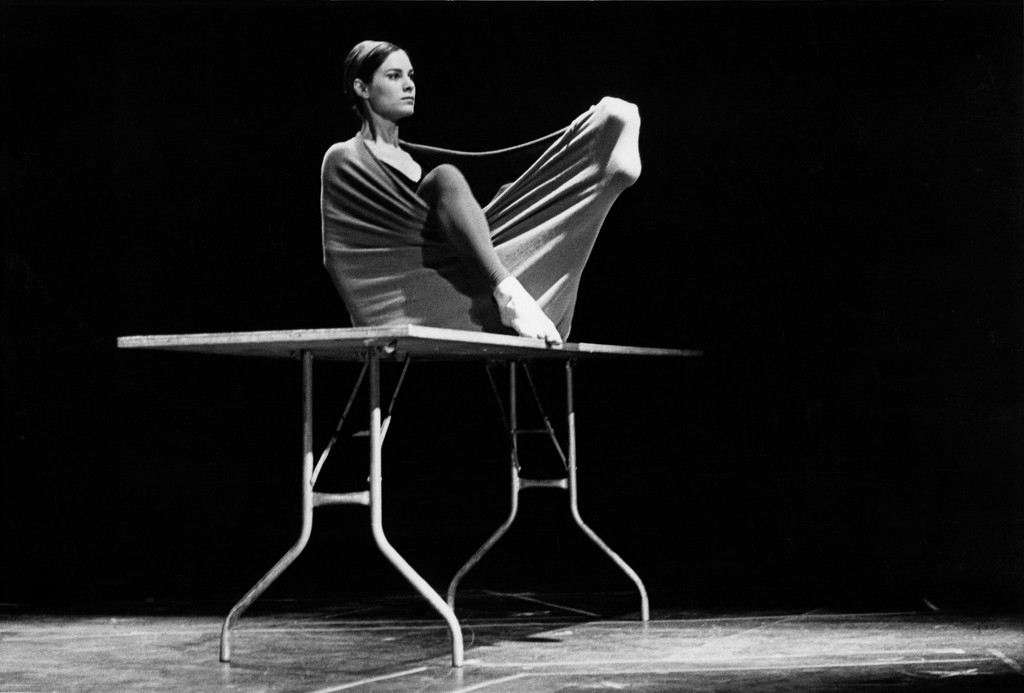 Peter Moore's photograph of Lucinda Childs in *Pastime*,1963. Performed in Surplus Dance Theater: Program Exchange, New York, March 2, 1964