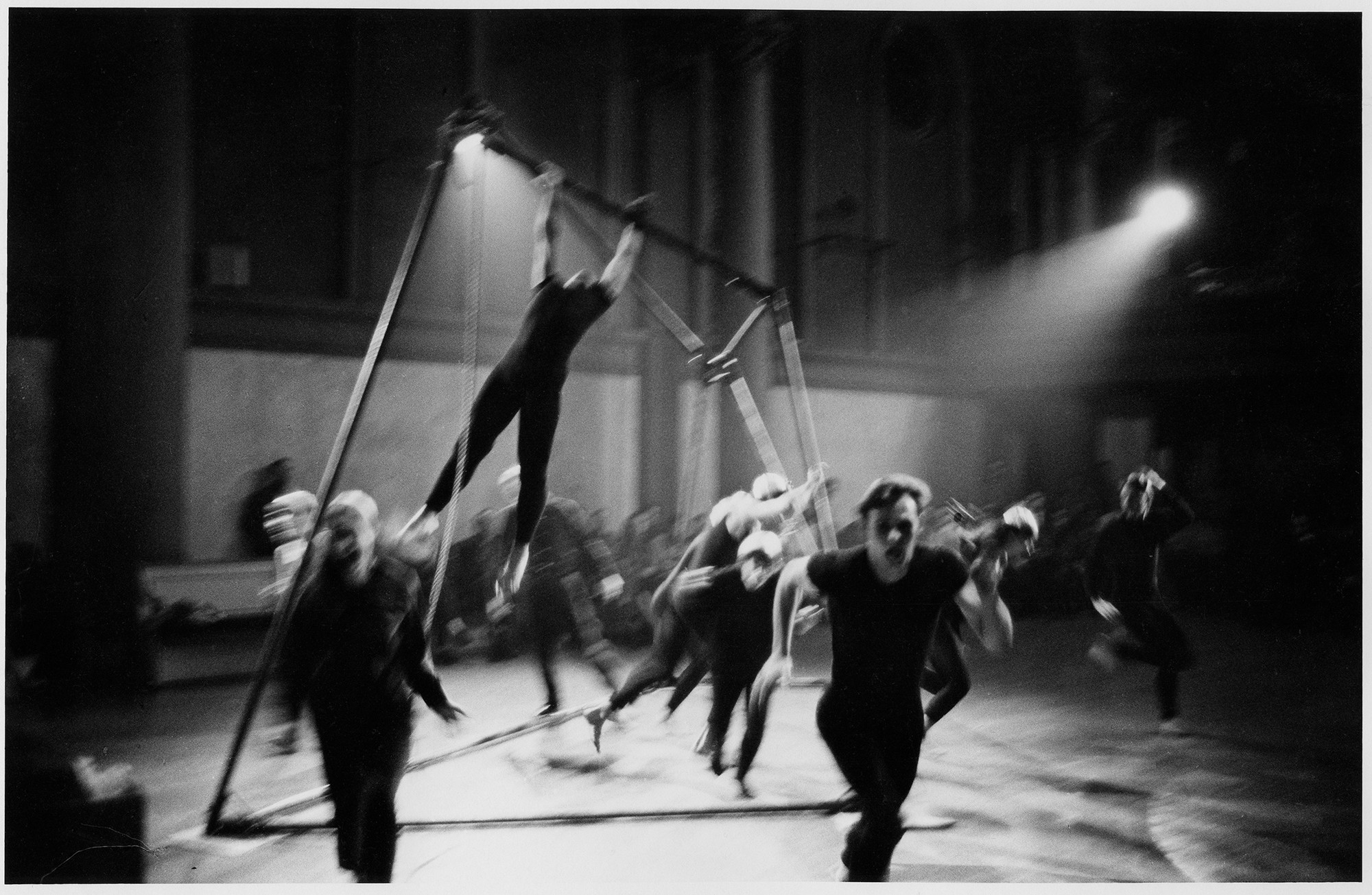 Peter Moore's photograph of unidentified performers in Joan Baker's _Ritual_ (detail), 1963. Performed in _Concert of Dance #13_, Judson Memorial Church, November 20, 1963. © Barbara Moore/Licensed by VAGA, New York, NY. Courtesy Paula Cooper Gallery, New York