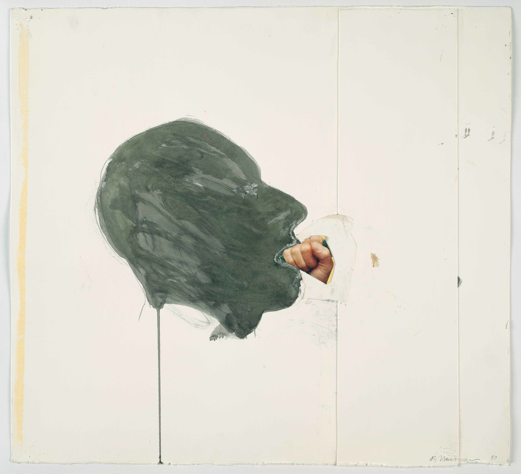 "Bruce Nauman. *Fist in Mouth*. 1990. Cut-and-pasted printed paper and paper with watercolor and pencil on paper, 20 1/4 x 23 3/4"" (51.4 x 60.3 cm). The Museum of Modern Art, New York. Purchased with funds given by Edward R. Broida. © 2017 Bruce Nauman/Artists Rights Society (ARS), New York"