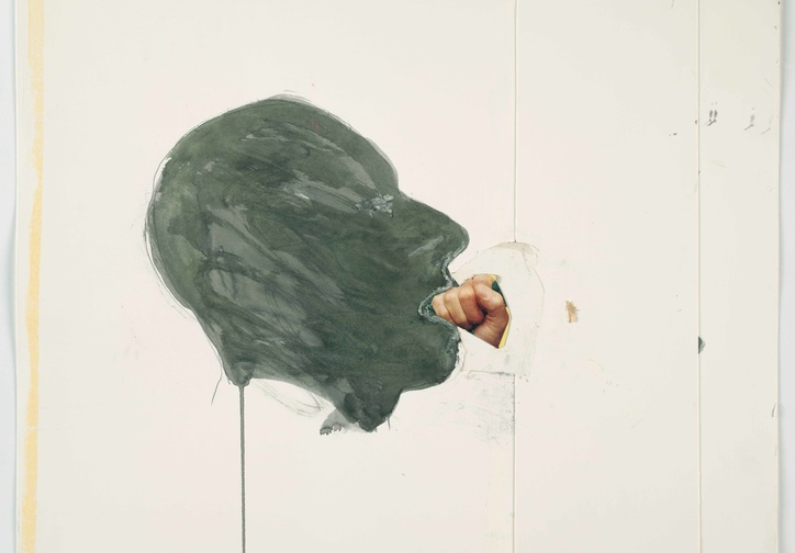"Bruce Nauman. Fist in Mouth. 1990. Cut-and-pasted printed paper and paper with watercolor and pencil on paper, 20 1/4 x 23 3/4"" (51.4 x 60.3 cm). The Museum of Modern Art, New York. Purchased with funds given by Edward R. Broida. © 2017 Bruce Nauman/Artists Rights Society (ARS), New York"