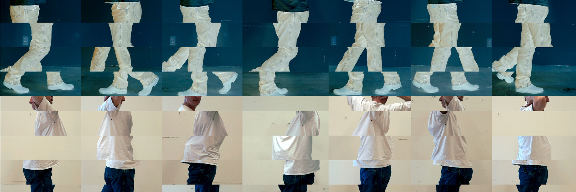 Still from <em>Contrapposto Studies, i through vii</em> (detail). 2015/16. Seven-channel video. Jointly owned by The Museum of Modern Art, New York, acquired in part through the generosity of Agnes Gund and Jo Carole and Ronald S. Lauder; and Emanuel Hoffmann Foundation, gift of the president 2017, on permanent loan to Öffentliche Kunstsammlung Basel. © 2018 Bruce Nauman/Artists Rights Society (ARS), New York