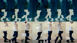 Still from *Contrapposto Studies, i through vii* (detail). 2015/16. Seven-channel video. Jointly owned by The Museum of Modern Art, New York, acquired in part through the generosity of Agnes Gund and Jo Carole and Ronald S. Lauder; and Emanuel Hoffmann Foundation, gift of the president 2017, on permanent loan to Öffentliche Kunstsammlung Basel. © 2018 Bruce Nauman/Artists Rights Society (ARS), New York